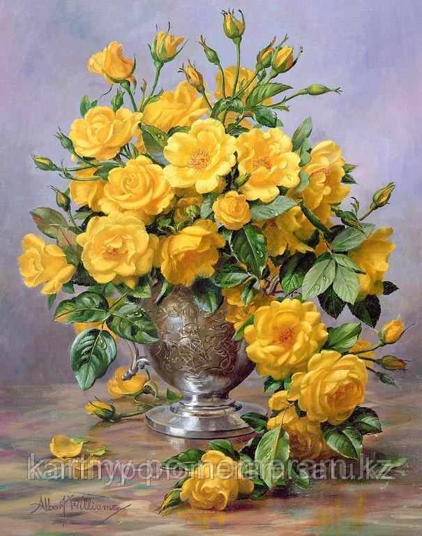 "Картина стразами на подрамнике (50х60 см)""Букет желтых роз"" MYL-212"