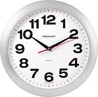 Часы d-290мм, круглые, белые, серебристый корпус, минеральное стекло Часпром