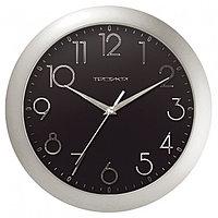 Часы d-290мм, круглые, черные, серебристый корпус, минеральное стекло Часпром
