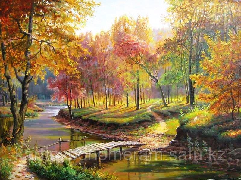 """Картина стразами на подрамнике (50х60 см)""""Осенний лес"""" MYL-149"""