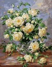 "Картина стразами на подрамнике (50х60 см)""Букет белых роз"" MYL-150"