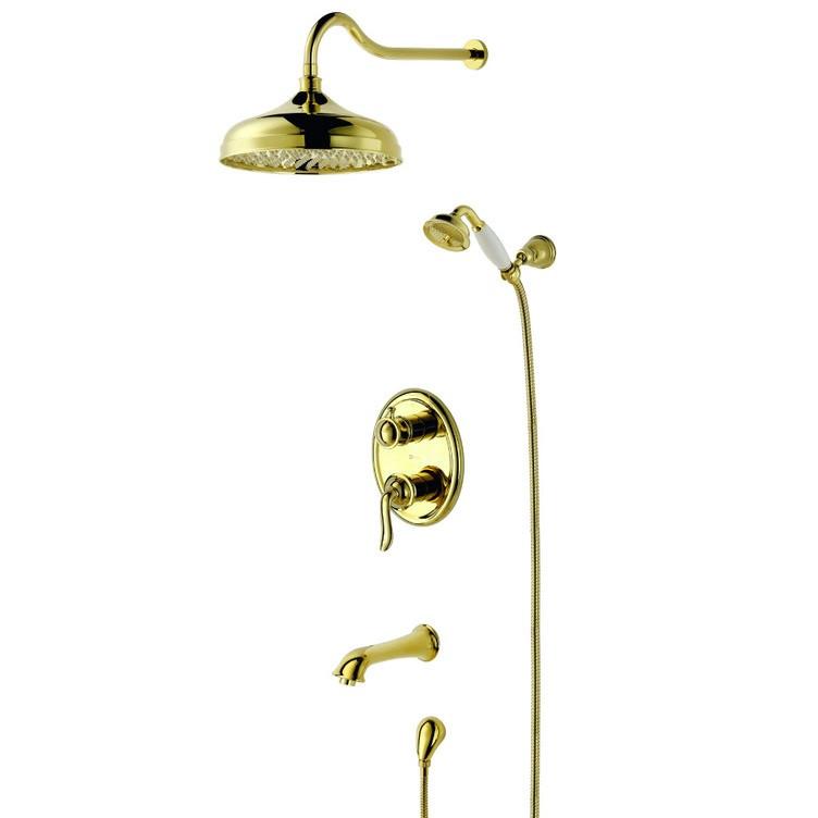 """LM4722G """"Брава"""" Смеситель для ванны и душа встраиваемый с дополнительной 1-функц лейкой, золото 318R"""