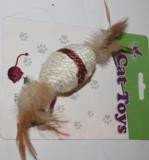 Шарик с перьями из сизалевого шнура, 10см., фото 1