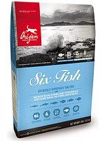 Сухой беззерновой корм для собак всех пород и возрастов Orijen Six Fish шесть рыб