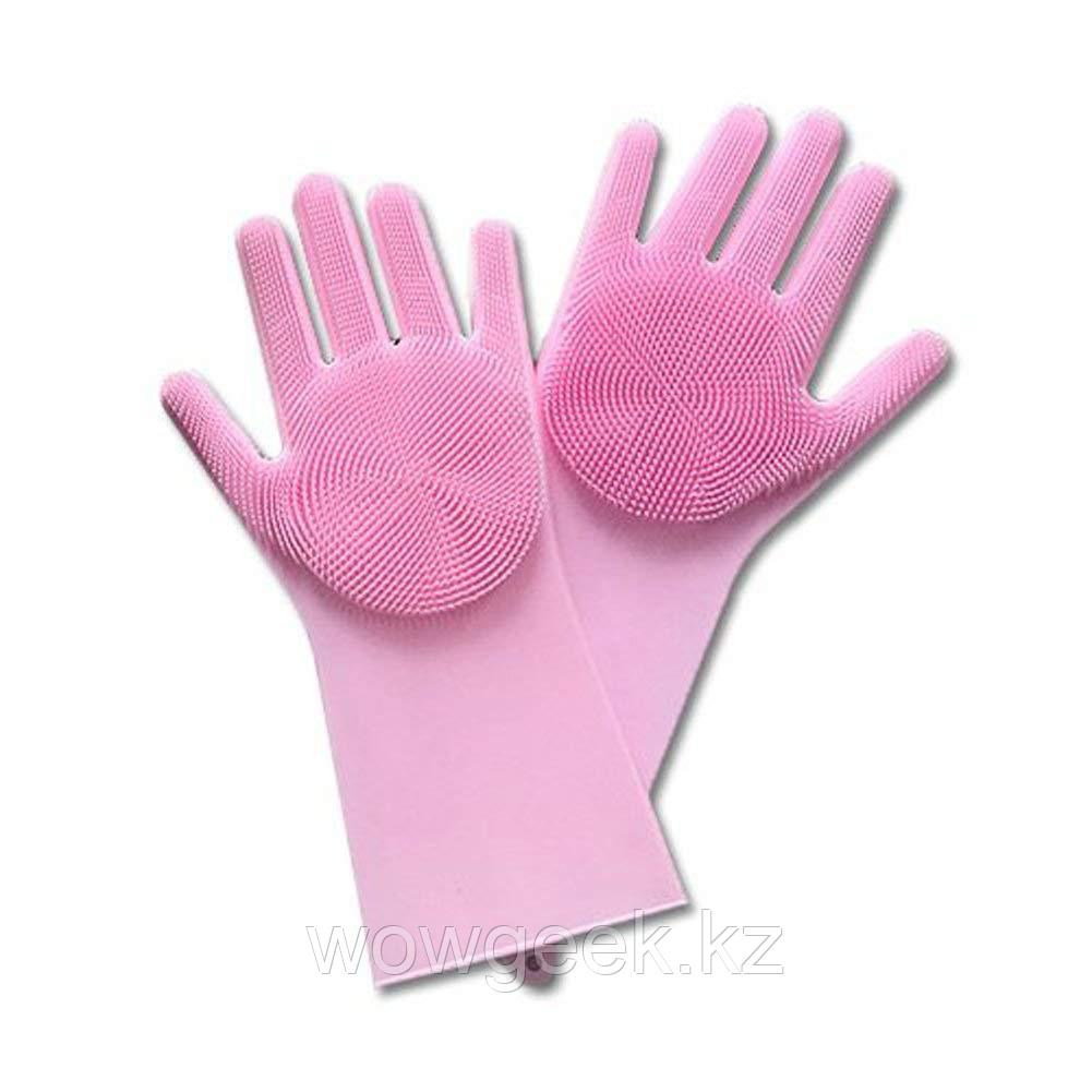 Перчатки для мытья посуды с насадками-щетками