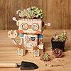 """Деревянный цветочный горшок Robotime """" Robot Робот """", фото 7"""