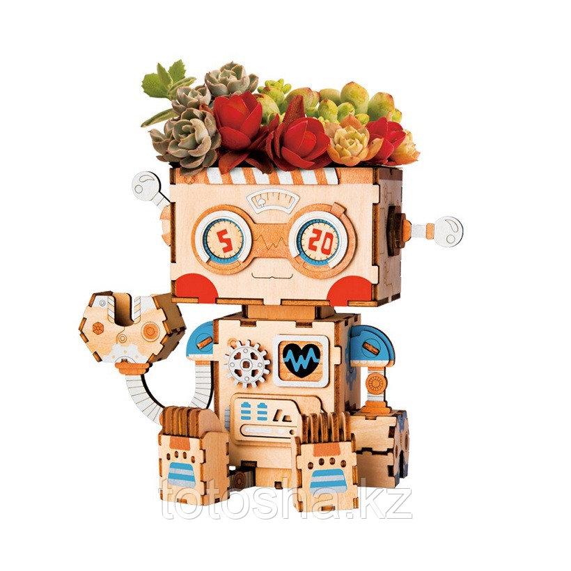 """Деревянный цветочный горшок Robotime """" Robot Робот """""""