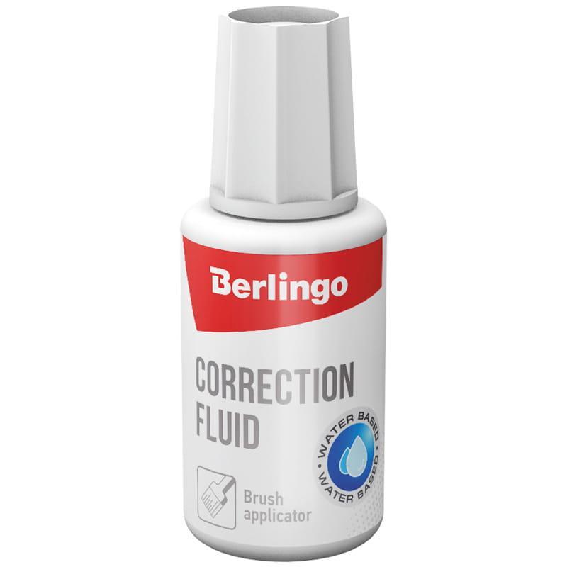 Корректирующая жидкость Berlingo, 20мл, водная, с кистью