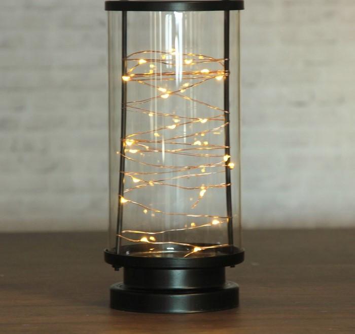 "Лампа настольная ""Линии света"" чёрная от батареек 3ААА 22х10х10 см  3007089"