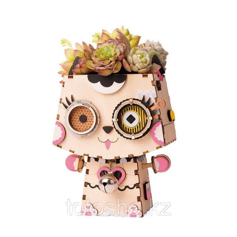 """Деревянный цветочный горшок Robotime """" Kitty Китти """""""