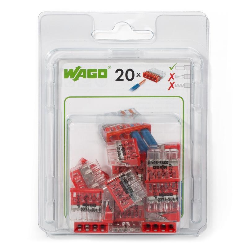 Мини-упаковка клемм «Wago» в блистерах серии 2273  (без контактной пасты) WAGO 2273-204/996-020