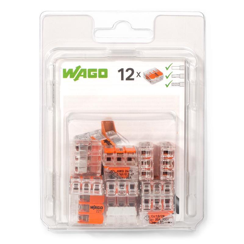 Мини-упаковка рычажковых клемм «Wago» в блистерах серии 221 WAGO 221–412/996-016