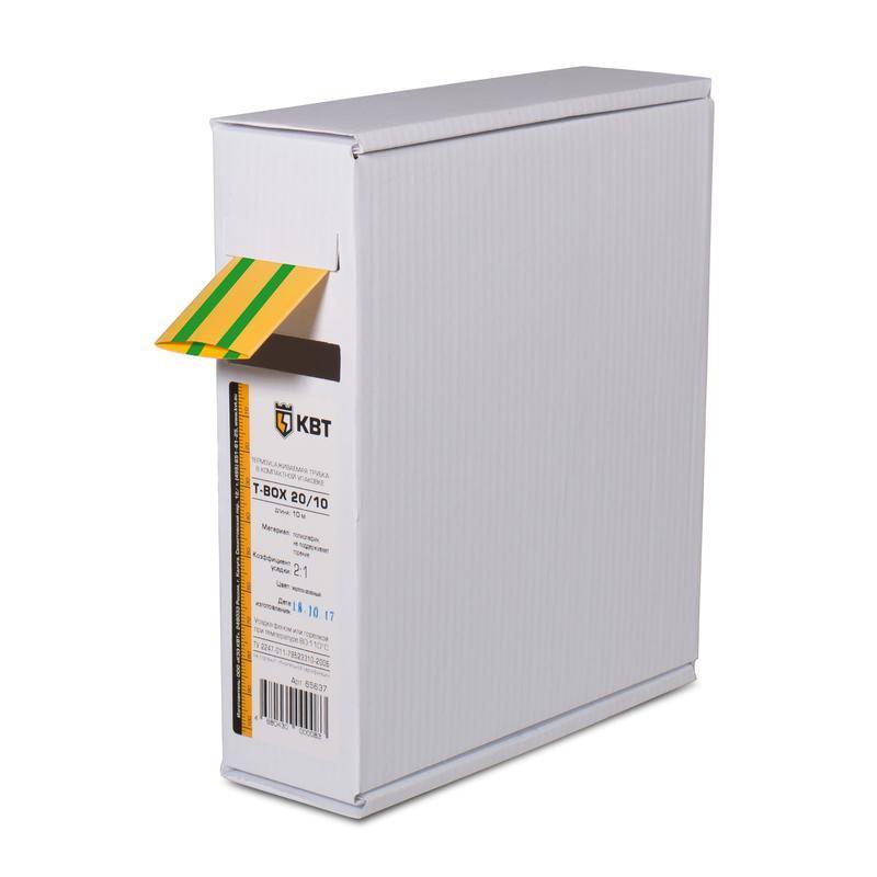 Термоусадочные желто-зеленые трубки в компактной упаковке Т-бокс КВТ Т-BOX-20/10 (ж/з)