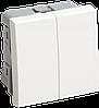 ВК1-22-00-П Выключатель двухклавишный (на 2 модуля) ПРАЙМЕР белый IEK