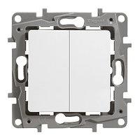 Выключатель двухклавишный - 10 AX - 250 В~ - Белый - Etika