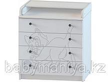 Комод Пеленальный Атон 80\4 ПВХ с рисунком Котенок (фрезеровка), Белый