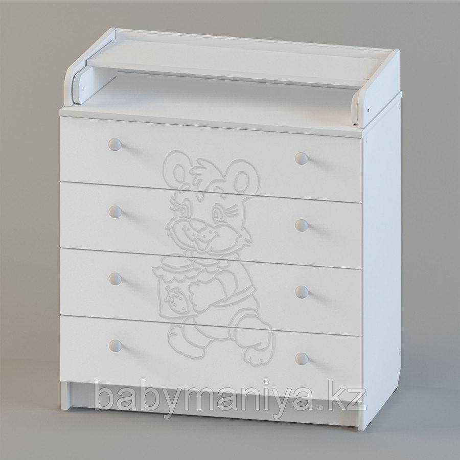Комод Пеленальный Атон 80\4 ПВХ с рисунком Мишка (фрезеровка), Белый