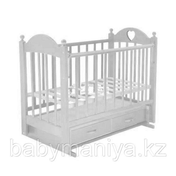 Кровать детская Ведрусс ИРИШКА 3 (ящик маятник накладка сердечко) Белая