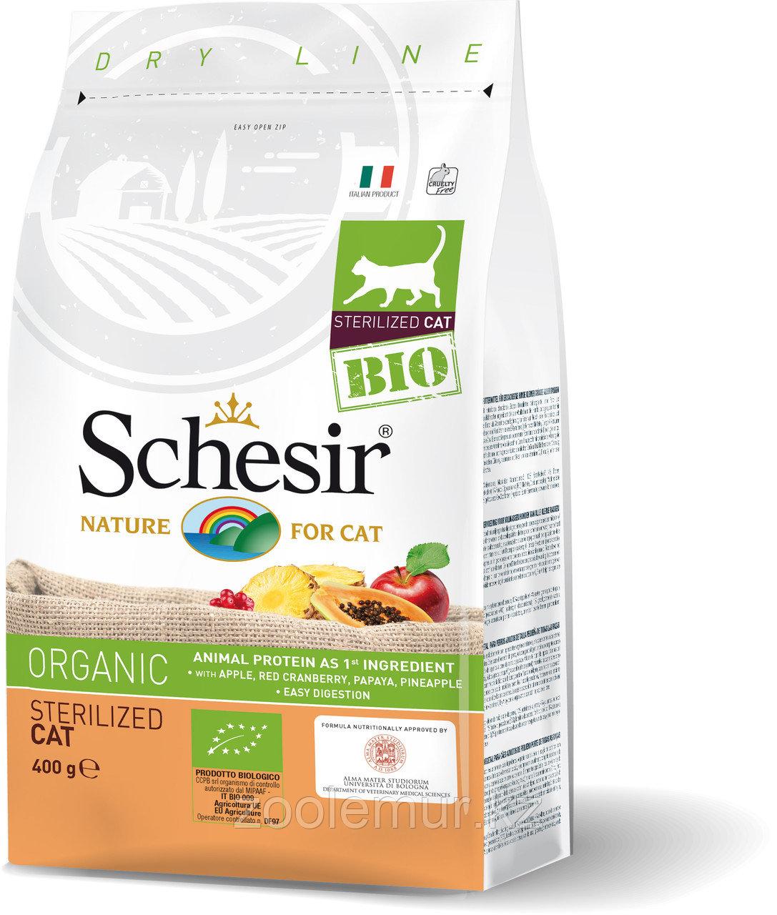 Schesir Bio сухой корм для стерилизованных кошек, домашняя птица 400г