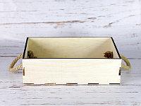 Деревянный ящик с ручками-верёвками без покраски 30*20*8,5 см.