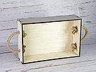 Деревянный ящик с ручками-верёвками без покраски. Размер: 30*20*8,5 см., фото 2