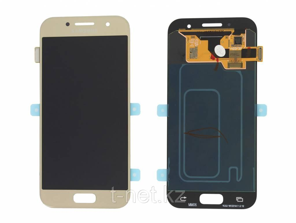 Дисплей Samsung Galaxy A3 Duos (2017) SM-A320F Сервис Оригинал с сенсором, цвет золотистый