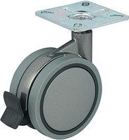 Мебельный ролик двойной D 75 мм , со стопором, 60 х 60 мм, пластмасса, серебро
