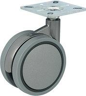 Мебельный ролик двойной D 75 мм, 60 х 60, серебристый, пластмасса