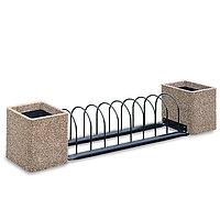 Велопарковка металлическая с бетонными вазонами
