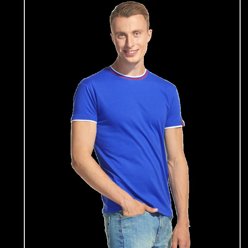Мужская футболка «триколор», EkaterinaCity, 1402, Синий (16), XS/44