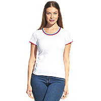 Женская футболка «триколор», EkaterinaCityWomen, 14W02, Белый (10), M/46