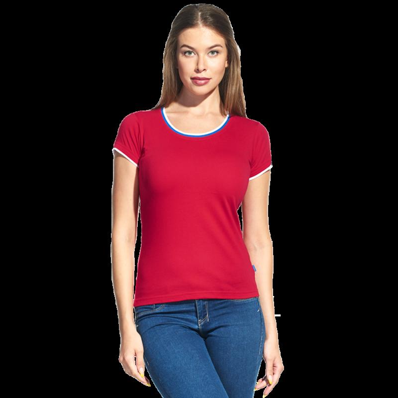 Женская футболка «триколор», EkaterinaCityWomen, 14W02, Красный (14), XL/50