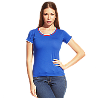 Женская футболка «триколор», EkaterinaCityWomen, 14W02, Синий (16), XS/42