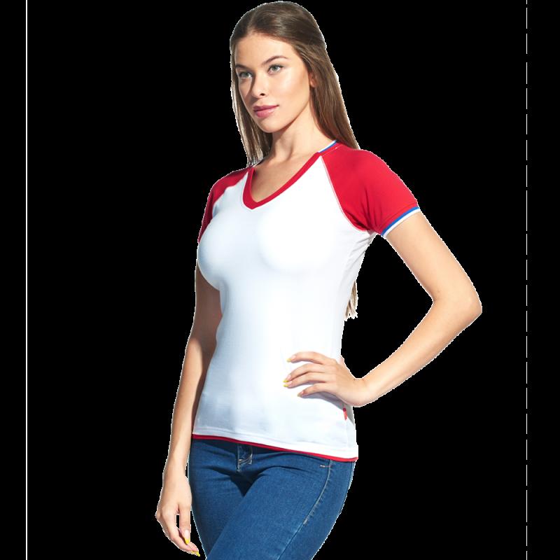 Спортивная футболка «триколор», MoscowStyleWomen, 14W021, Белый (10), XL/50