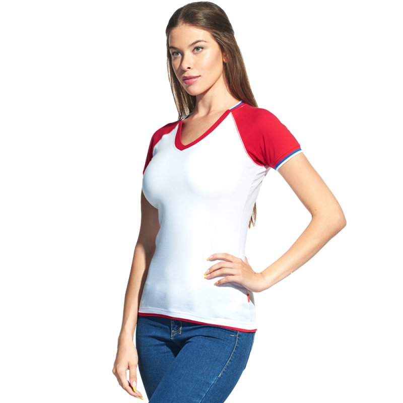 Спортивная футболка «триколор», MoscowStyleWomen, 14W021, Белый (10), XXL/52