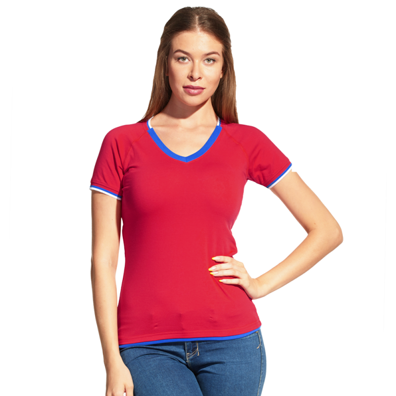 Спортивная футболка «триколор», MoscowStyleWomen, 14W021, Красный (14), L/48
