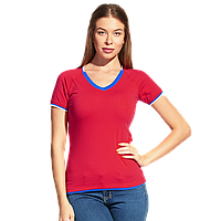 Спортивная футболка «триколор», MoscowStyleWomen, 14W021, Красный (14), XS/42