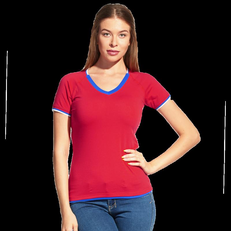 Спортивная футболка «триколор», MoscowStyleWomen, 14W021, Красный (14), XXS/40