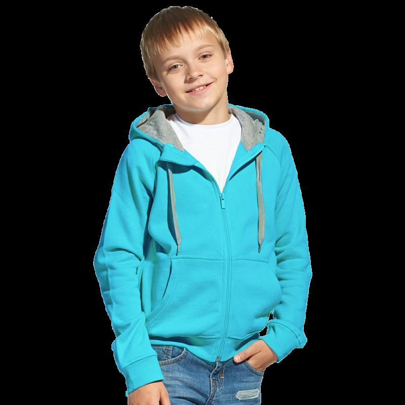 Детская толстовка, StanStyleJunior, 17J, Бирюзовый-Серый меланж (32/50), 8 лет