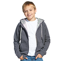 Детская толстовка, StanStyleJunior, 17J, Тёмный меланж-Серый меланж (60/50), 12 лет