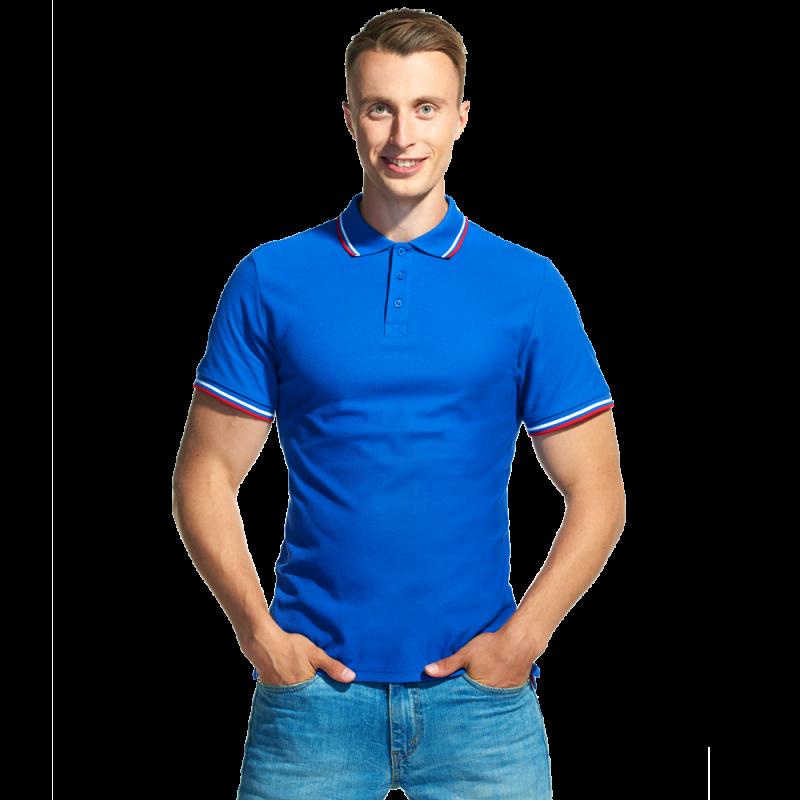 Мужская рубашка поло «триколор», StanRussian, 04RUS, Синий (16), M/48