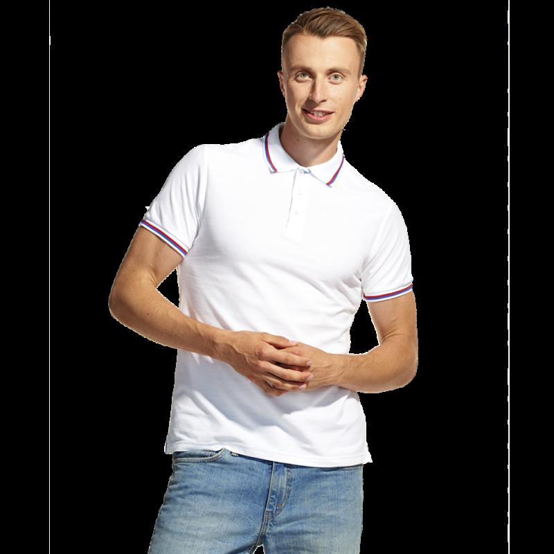 Мужская рубашка поло «триколор», StanRussian, 04RUS, Белый (10), L/50
