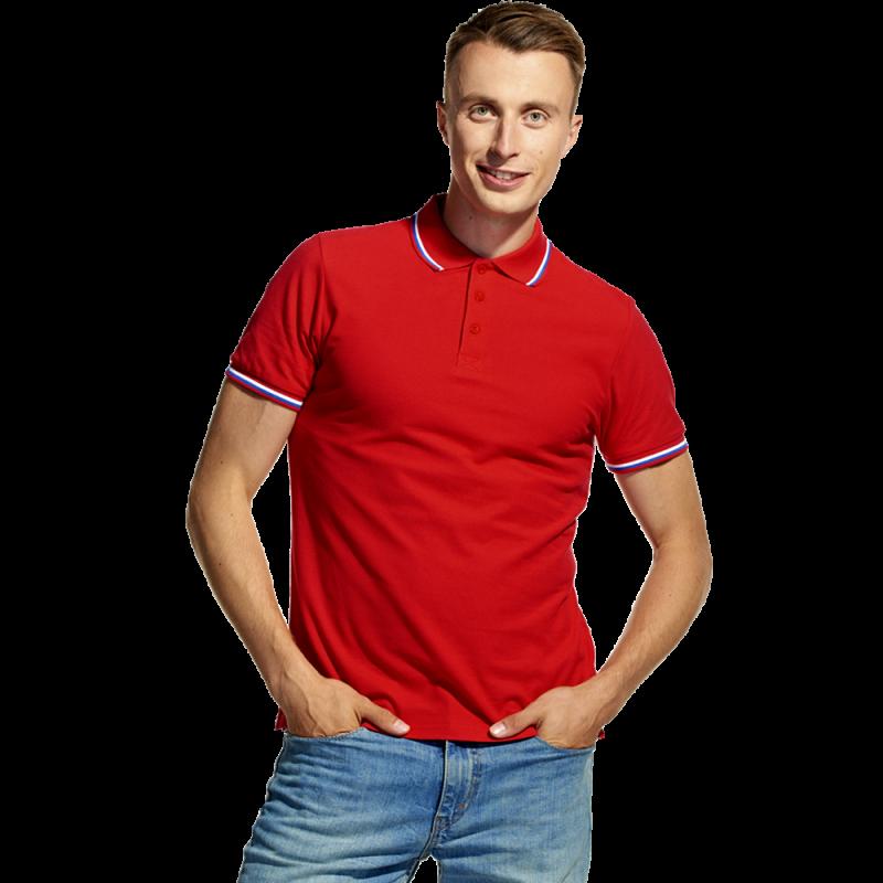 Мужская рубашка поло «триколор», StanRussian, 04RUS, Красный (14), S/46