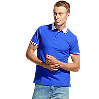 Мужская рубашка поло «триколор», StanRussian, 04RUS, Синий-Белый (16/10), XL/52