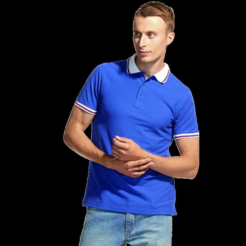 Мужская рубашка поло «триколор», StanRussian, 04RUS, Синий-Белый (16/10), XS/44