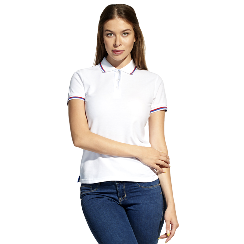 Женская рубашка поло  «триколор», StanRussianWomen, 04WRUS, Белый (10), M/46