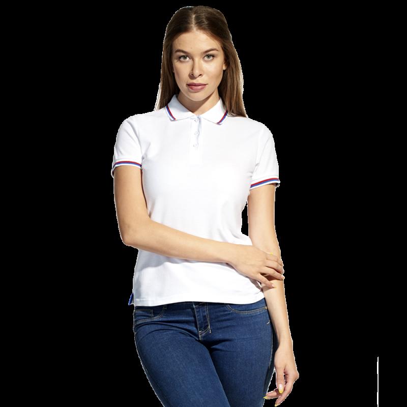Женская рубашка поло  «триколор», StanRussianWomen, 04WRUS, Белый (10), XXL/52