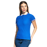 Женская рубашка поло  «триколор», StanRussianWomen, 04WRUS, Синий-Белый (16/10), L/48