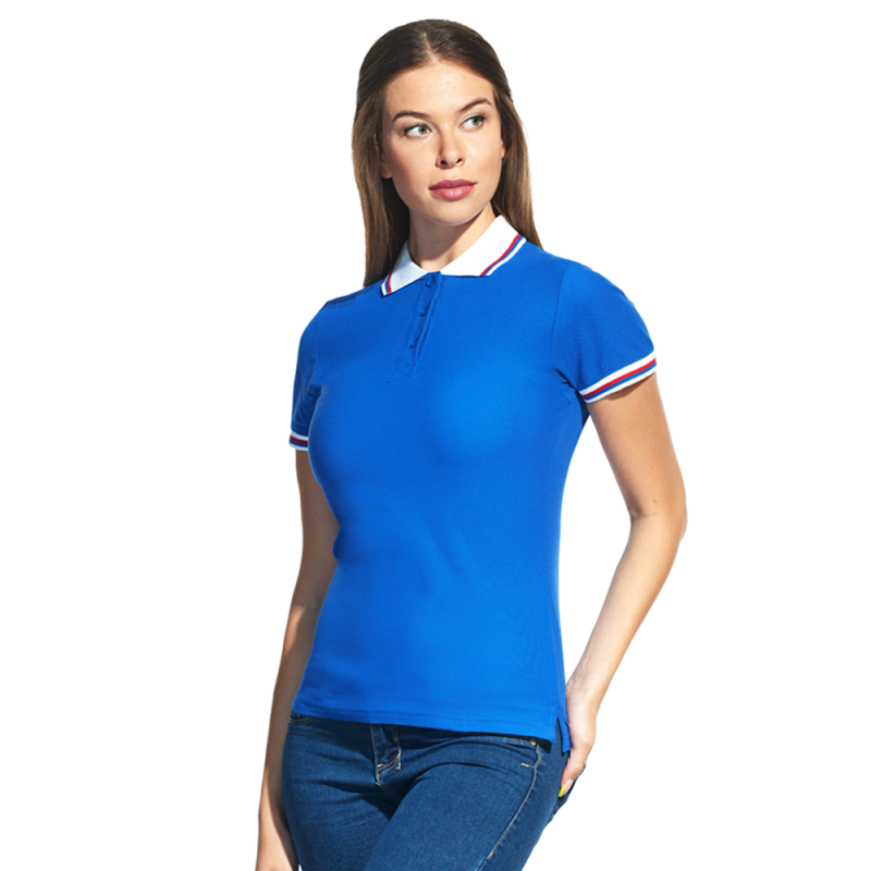 Женская рубашка поло  «триколор», StanRussianWomen, 04WRUS, Синий-Белый (16/10), XS/42