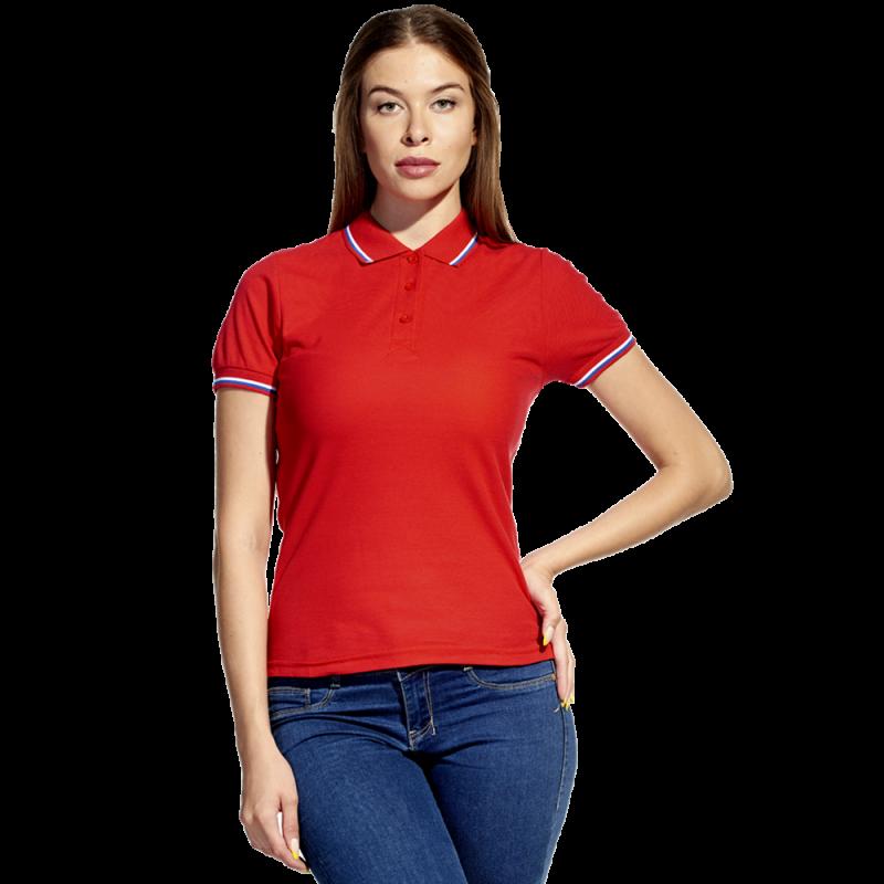Женская рубашка поло  «триколор», StanRussianWomen, 04WRUS, Красный (14), XXL/52
